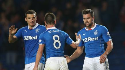 Rangers trio celebrate scoring against Inverness
