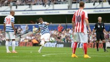 Niko Kranjcar, centre, earned QPR a point with a fine late free-kick against Stoke in a 2-2 draw at Loftus Road