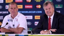 Rugby Football Union chief executive Ian Ritchie, right, and Stuart Lancaster, left, faced the media