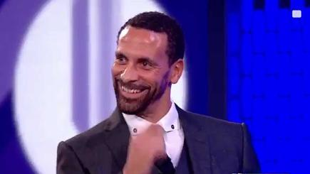 Ex-Manchester United and England star Rio Ferdinand reacts to a joke at his expense from Clare Balding