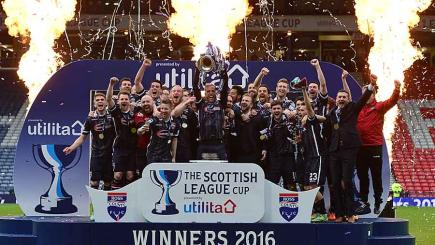 Ross County celebrate winning the Scottish League Cup