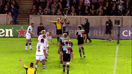 Rugby ref mocks crooked line-out throw