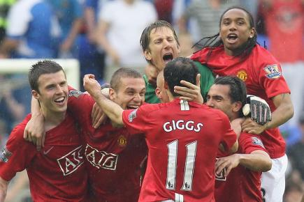 Ryan Giggs scored against Wigan to seal United's Premier League title win in 2008