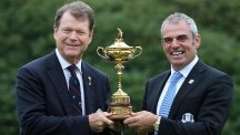 Paul McGinley, right, and Tom Watson, left, are dreaming of very different outcomes at next week's Ryder Cup