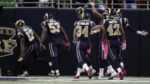 St. Louis Rams bamboozled Seattle on a punt return, allowing Stedman Bailey, left, to score (AP)