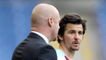 Burnley manager Sean Dyche, left, would not be drawn on the future of Joey Barton, right