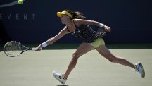 Agnieszka Radwanska, pictured, was dumped out of the US open by Shuai Peng (AP)