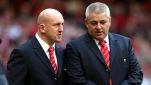 Wales defence specialist Shaun Edwards, left, is impressed by Warren Gatland's international record