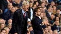 Tim Sherwood, right, goes head-to-head with Arsene Wenger, left, at Wembley