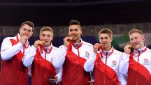 Louis Smith, centre, returned to the sport in time for the Commonwealth Games