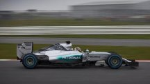 Mercedes' new car, the F1 W06 Hybrid (pictured), made its debut during a shakedown test at Silverstone on Wednesday