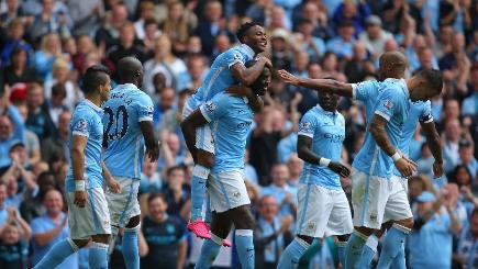 Raheem Sterling celebrates his goal with his Manchester City team