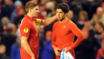 Steven Gerrard, left, said goodbye to Luis Suarez, right, at Melwood on Monday