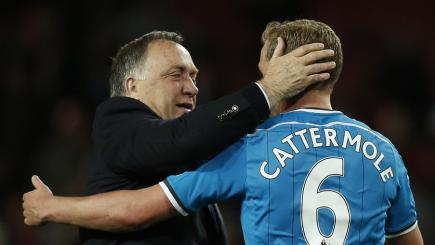 Sunderland manager Dick Advocaat celebrates with Lee Cattermole