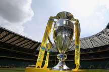 The Aviva Premiership trophy, displayed at Twickenham Stadium