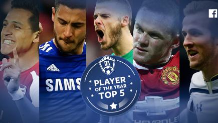 The top five contenders for the Facebook Football Awards Player of the Year have been announced