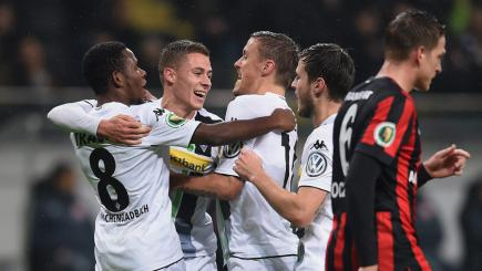 Thorgan Hazard celebrates with his Borussia Monchengladbach team-mates