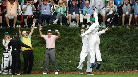 Masters sleeper pick dislocates ankle celebrating hole-in-one, keeps playing