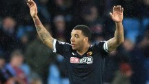 Watford's Troy Deeney celebrates scoring his side's third goal at Villa Park