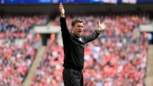 Barnsley's interim boss Paul Heckingbottom celebrates after the final whistle