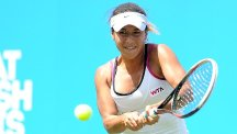 Heather Watson, pictured, lost the first set against Angelique Kerber