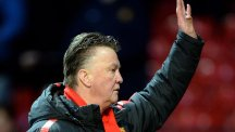 Louis van Gaal salutes Manchester United fans after the 3-1 win over Leicester
