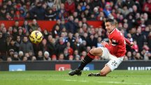 Robin van Persie scores Manchester United's opener against Leicester