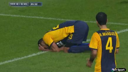 Verona's Marques after scoring an own-goal