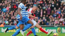 Jonathan Walters, right, scores Stoke's second against QPR