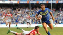 Warrington full-back Matty Russell was taken to hospital after being carried off on a stretcher