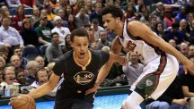Stephen Curry, left, has been in fine form for the Warriors (AP)