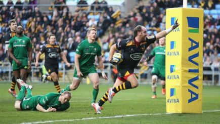 Wasps celebrate a try against London Irish