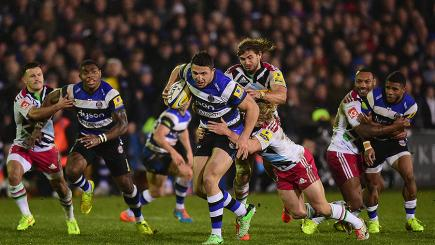 Watch Sam Burgess' first moments as a Bath player