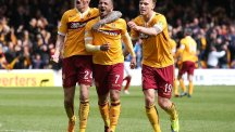 Motherwell's Lionel Ainsworth celebrates scoring the second goal