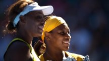 Serena Williams, pictured right, and elder sister Venus, left, were victorious at the Miami Open on Monday