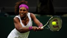 Serena Williams, pictured, will meet Simona Halep in Sunday's WTA Finals title decider