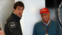 Mercedes motorsport boss Toto Wolff, left, and non-executive chairman Niki Lauda have had their hands full this season