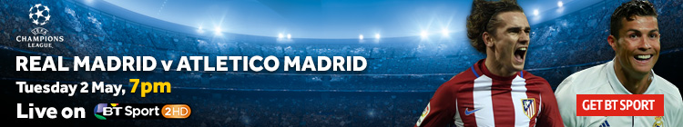Watch Real Madrid v Atletico Madrid exclusively on BT Sport