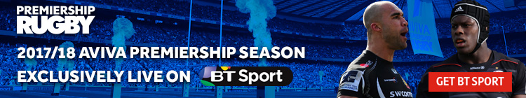 Watch the 2017/18 Aviva Premiership season exclusively on BT Sport