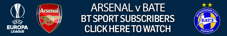 Watch Arsenal v BATE exclusively live on BT Sport