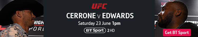 Join now to watch UFC Fight Night: Cerrone v Edwards exclusively live on BT Sport
