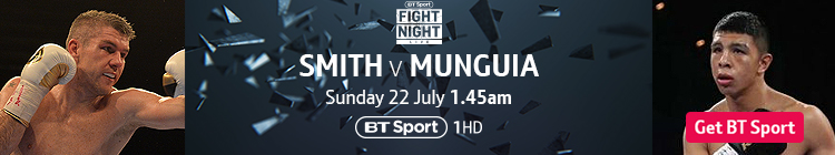 Join now to watch Liam Smith v Jaime Munguia exclusively live on BT Sport