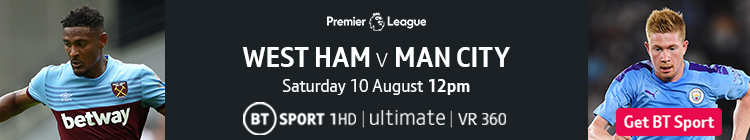 Join now to watch West Ham v Man City on BT Sport