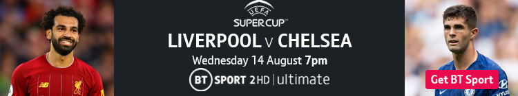 Join now to watch Liverpool v Chelsea in the UEFA Super Cup exclusively live on BT Sport