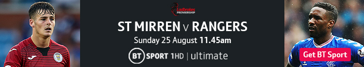 Join now to watch St Mirren v Rangers on BT Sport