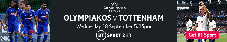 Join now to watch Olympiakos v Tottenham on BT Sport