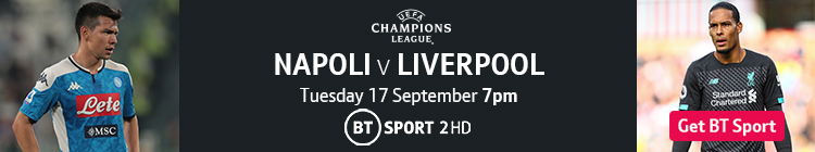 Join now to watch Napoli v Liverpool on BT Sport