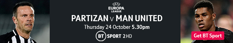 Join now to watch Partizan v Man United on BT Sport
