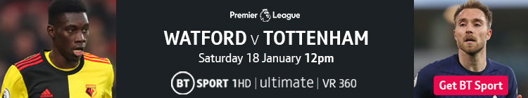 Join now to watch Watford v Tottenham on BT Sport