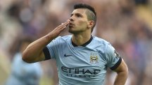 Sergio Aguero celebrates his stoppage-time goal for Manchester City against Newcastle